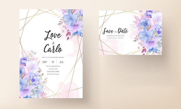 Urocza miękka różowa i niebieska kwiecista karta zaproszenie na ślub