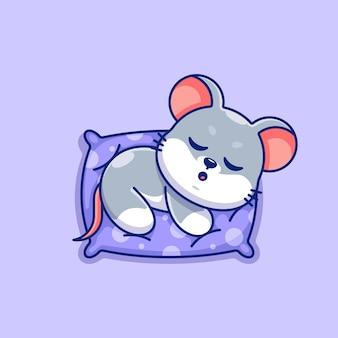 Urocza mysz śpiąca na poduszce kreskówka