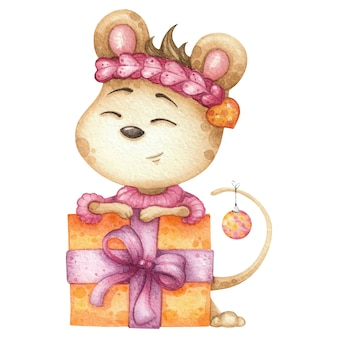 Urocza myszka z dużym pudełkiem. akwarela ilustracja na boże narodzenie lub urodziny