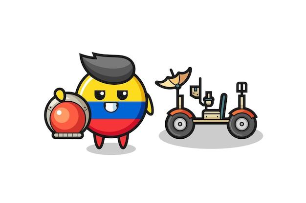 Urocza odznaka flagi kolumbii jako astronauta z księżycowym łazikiem, ładny styl na koszulkę, naklejkę, element logo