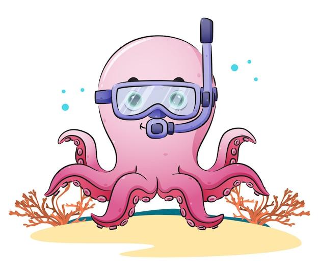Urocza ośmiornica nurkuje w okularach pływackich z ilustracji