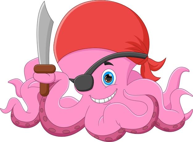 Urocza ośmiornica w kostiumie pirata i trzymająca miecz