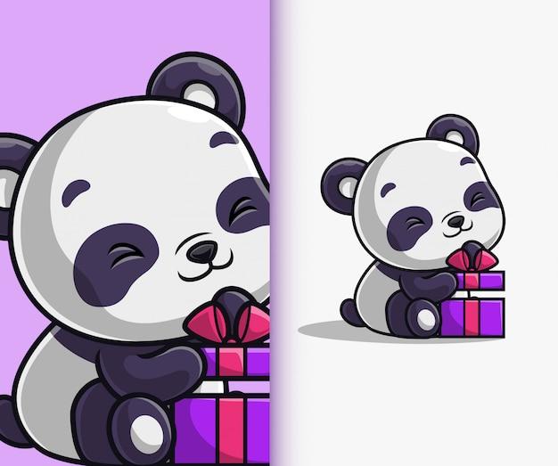 Urocza panda otwierająca pudełko na urodziny. postać z kreskówki maskotka panda.