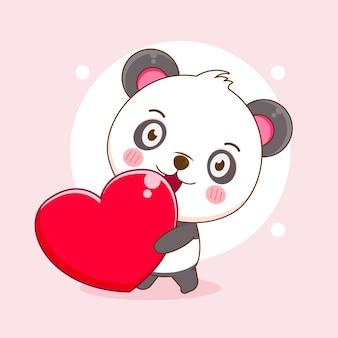 Urocza panda przynosi kreskówki miłości love