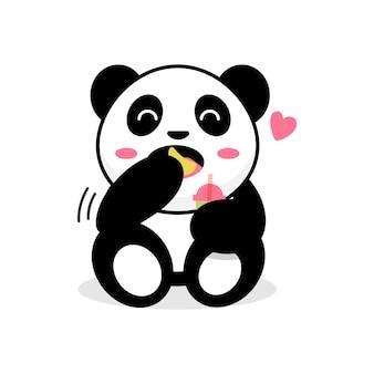 Urocza panda robi uroczą pozę jeść frytki