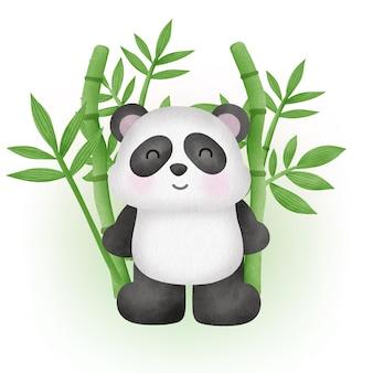Urocza panda z bambusem w stylu akwareli
