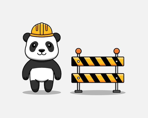 Urocza panda z kaskiem i blokadą drogową