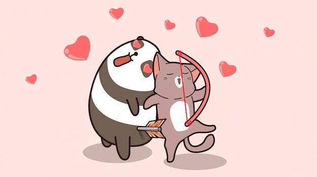 Urocza panda ze strzałką miłości spada zakochany kot