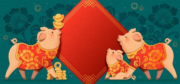 Urocza papierowa świnka, która ma na sobie tradycyjne ubrania z wiosennymi kupletami w tle