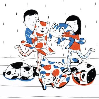 Urocza para bawiąca się kotem w stylu kreskówki