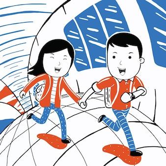 Urocza para biega szczęśliwa w stylu kreskówki