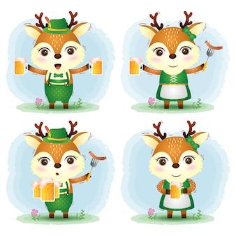 Urocza para jeleni w tradycyjnym stroju oktoberfest