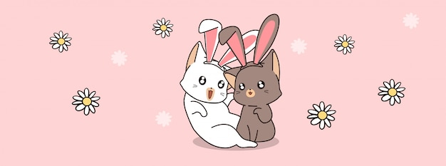 Urocza para królika kot w wiosna dzień