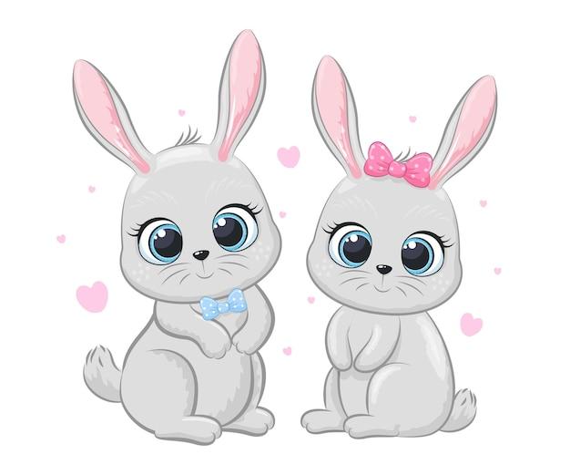 Urocza para królików z sercami. ilustracja kreskówka wektor.