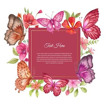 Urocza piękna akwarela wiosenna ramka kwiatowa lub kartka z życzeniami