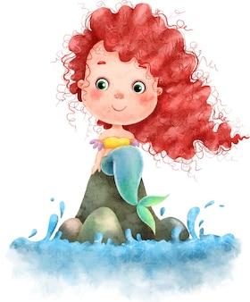 Urocza piękna mała syrenka z czerwonymi długimi włosami siedzi na kamieniach w pobliżu wody, namalowana akwarelą