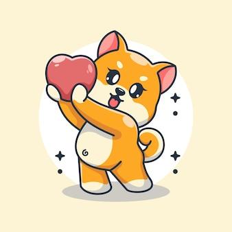 Urocza pieska shiba inu daje kreskówkę w kształcie serca