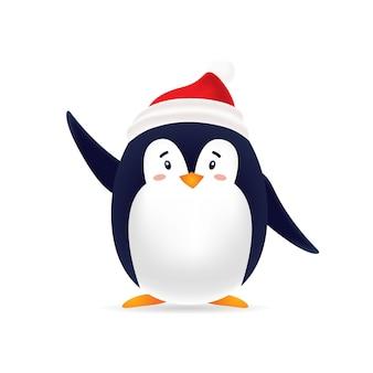 Urocza pinguin z czerwoną czapką