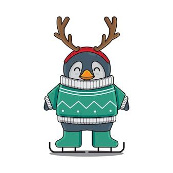 Urocza pingwin narciarski