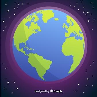 Urocza planeta ziemia z płaskim projektem