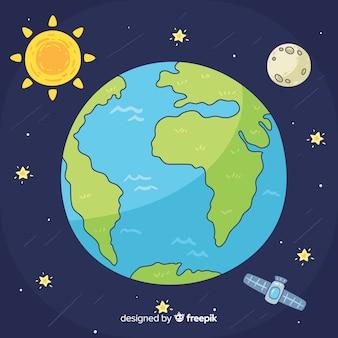 Urocza Planeta Ziemia Z Ręcznie Rysowane Stylu Darmowych Wektorów