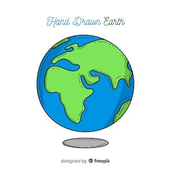 Urocza planeta ziemia z ręcznie rysowane stylu