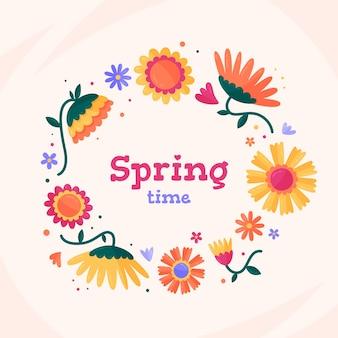 Urocza płaska wiosenna ramka w kwiaty