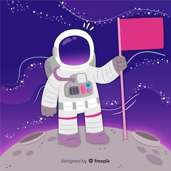 Urocza postać astronauty o płaskiej konstrukcji