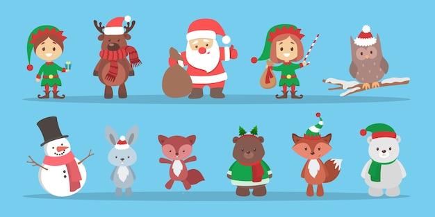 Urocza postać bożonarodzeniowa świętująca zestaw ferii zimowych. święty mikołaj i lis, bałwan i świnia. święta bożego narodzenia. ilustracja wektorowa płaski