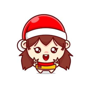 Urocza postać dziewczyny w świątecznym kapeluszu