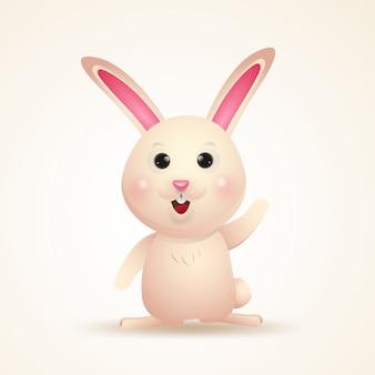 Urocza postać króliczka. szczęśliwa wielkanocnego dnia kreskówka odizolowywająca.