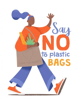 """Urocza postać młodej dziewczyny idącej z eko torbą w stylu kreskówki hipster z teksturami i zwrotem """"powiedz nie plastikowym torbom""""."""