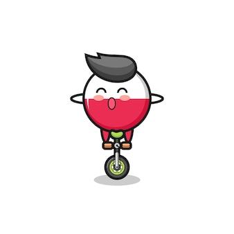 Urocza postać odznaki flagi polski jeździ na rowerze cyrkowym, ładny styl na koszulkę, naklejkę, element logo