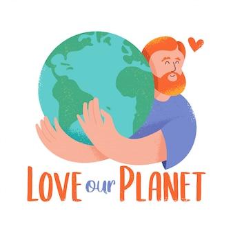 """Urocza postać rudego mężczyzny, który tuli planetę w stylu kreskówki hipster z teksturami i zwrotem """"kochaj naszą planetę""""."""