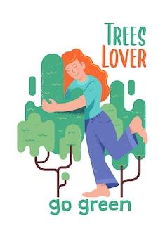 """Urocza postać rudej kobiety lub dziewczyny, która tuli zielone drzewo w stylu kreskówki hipster z teksturami i zwrotem """"miłośnik drzew"""" ilustracja nowoczesnego doodle ekologiczny, uratuj koncepcję planety"""