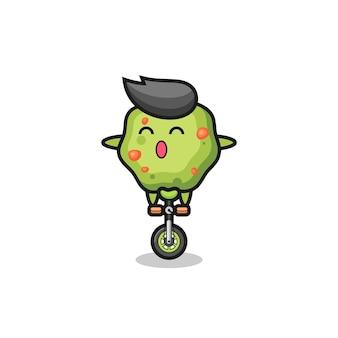 Urocza postać rzygać jeździ na rowerze cyrkowym, ładny styl na koszulkę, naklejkę, element logo