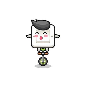 Urocza postać włącznika światła jedzie na rowerze cyrkowym, ładny styl na koszulkę, naklejkę, element logo