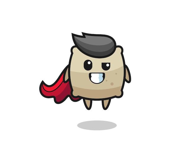 Urocza postać worka jako latający superbohater, ładny styl na koszulkę, naklejkę, element logo