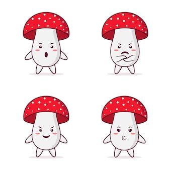 Urocza postać z grzybów z różnymi pozami i wyrazami twarzy