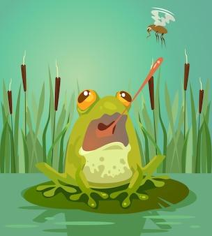 Urocza postać żaby poluje na komary. ilustracja kreskówka płaski wektor