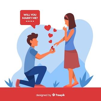 Urocza propozycja małżeństwa o płaskiej konstrukcji