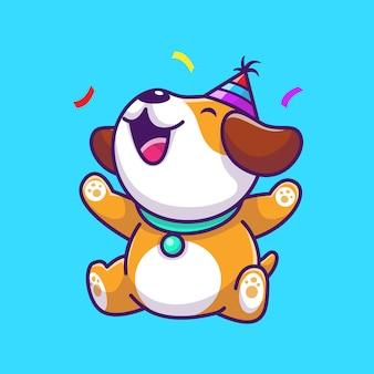 Urocza psia przyjęcia urodzinowego ikony ilustracja. postać z kreskówki szczeniak maskotka. koncepcja ikona zwierzę na białym tle