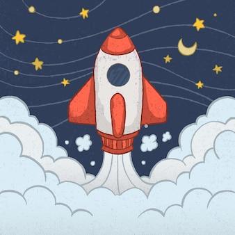 Urocza rakieta z ręcznie narysowanym stylem