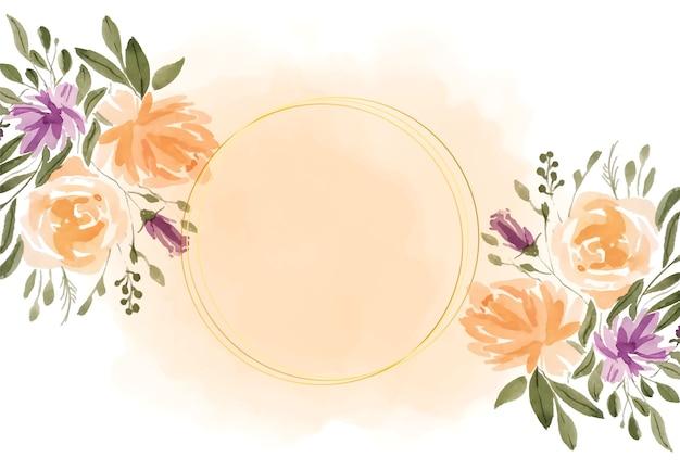 Urocza rama akwarela kwiaty