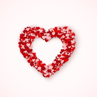 Urocza ramka heart z małych czerwonych i różowych serduszek. poczucie miłości w św. walentynki