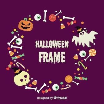 Urocza ramka na halloween z płaskiej konstrukcji