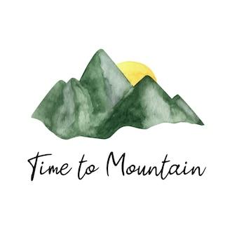 Urocza ręcznie malowana akwarelowa góra