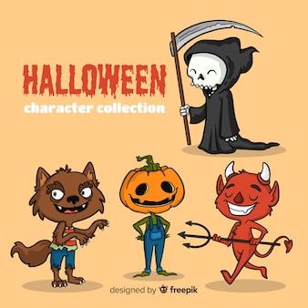 Urocza, ręcznie rysowana kolekcja postaci halloween