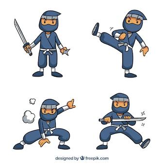 Urocza, ręcznie rysowana kolekcja postaci ninja