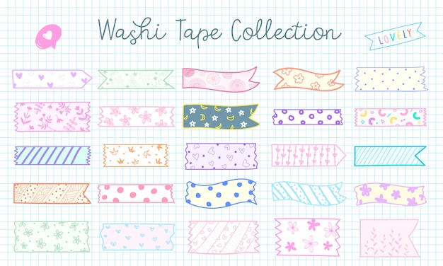 Urocza ręcznie rysowana kolekcja taśm washi w pastelowym kolorze